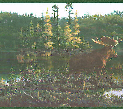 """BEAUTIFUL COUNTRY MOOSE AND CABIN ON THE LAKE 10 1/4 """" Wallpaper Wall bordeR"""