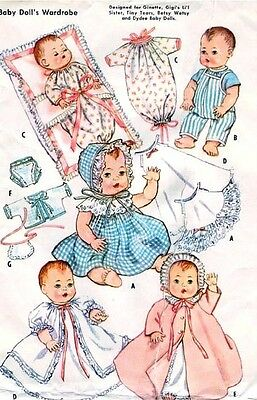 "Vintage 11-12"" Tiny Tears, Betsy Wetsy Baby Doll Clothes Pattern 2261"