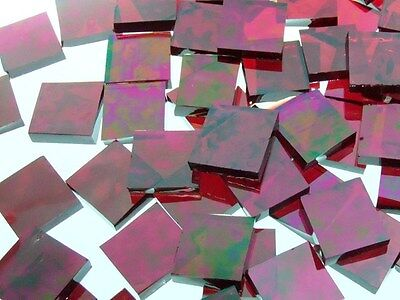 RED IRIDESCENT WATERGLASS handcut stained glass mosaic tiles #325