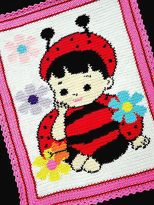 Crochet Patterns - BABY GIRL LADYBUG Afghan Pattern