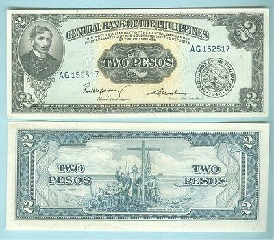 Philippines 1949 Two Pesos English Series Sign 2  Pick-134B....more Notes Avail