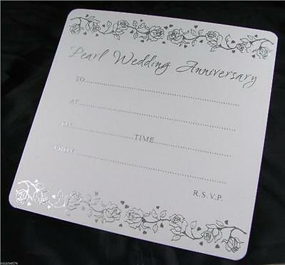 10 30th Pearl Wedding Anniversary White and Silver Invitations With Envelopes