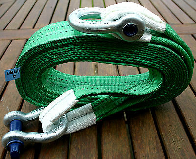 4x4 RECOVERY WINCH/TOWING STRAP 4M TREE STROP 14 TON & 2x 3.25T TESTED SHACKLES