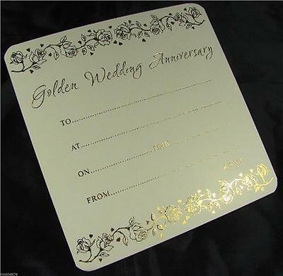 10 50th Golden Wedding Anniversary Cream and Gold Invitations with Envelopes