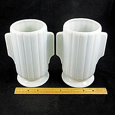 Vintage ART DECO Matched Pair of Ceramic Vases