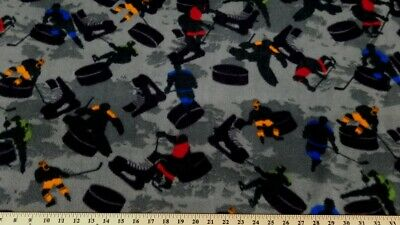 HOCKEY GRAY  FLEECE FABRIC 460 $6.99/YARD