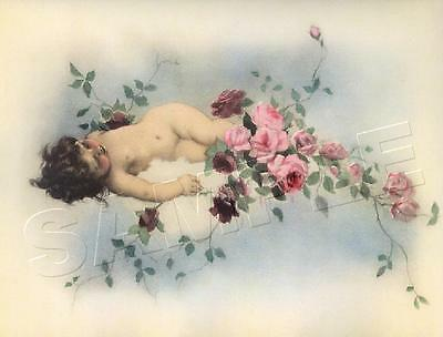 VICTORIAN Antique CHERUB Chic Shabby *CANVAS* Vintage Tojetti ART PRINT ~ LARGE