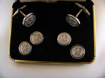 Set of MERRILL LYNCH BULL Cufflinks & Button Pins Silver-tone  #4
