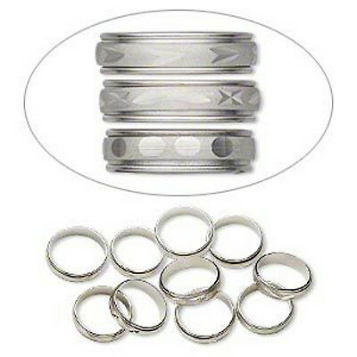 Silver Etched Rings Adjustable Mix Size 6-9 Jewelry Lot of 20