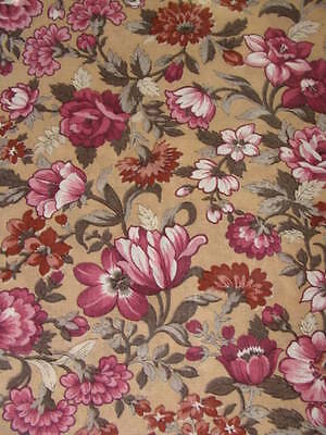 2 2/3 yds Brown & Maroon Floral VIP Sewing Fabric F6244