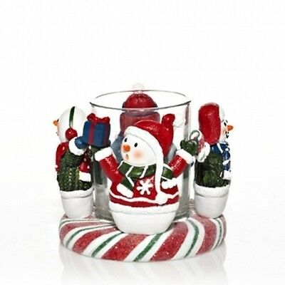 NEW!~Yankee Candle~PEPPERMINT SNOWMAN CIRCLE OF FRIENDS VOTIVE HOLDER~Christmas