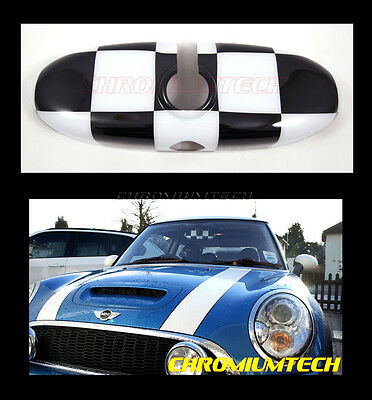 MK2 MINI Cooper R50 R52 R53 R55 R56 R57 R60 Chequered Rear View MIRROR Cover