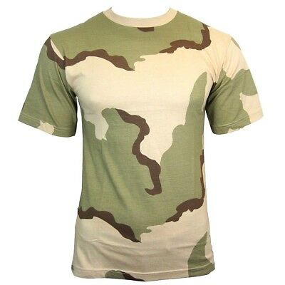 US Tri-Colour Desert Camo T-Shirt -  100% Cotton Army Military Top All Sizes New
