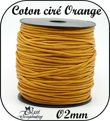 LOT 5 MÈTRE FIL COTON CIRÉ LARGE ORANGE CLAIR OCRE BIJOU PERLE CORDON SCRAP  2mm