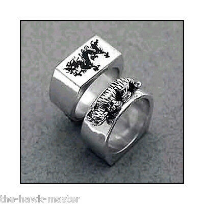 Kenpo Ring - Dragon Tiger Ring, Karate jewelry, Sterling Silver, Hand Crafted