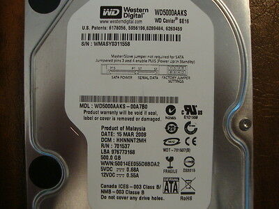 """See list for DCM/'s /& exact details 500gb 2.5/"""" Sata HDD WD WD5000BPKT-75PK4T0"""