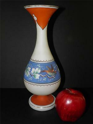 ANTIQUE BOHEMIAN CZECH FIGURAL ART GLASS HAND PAINTED BIRD VASE 12'' High