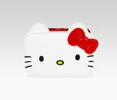 NEW HELLO KITTY WHITE RED BOW CHANGE PURSE WALLET loungefly