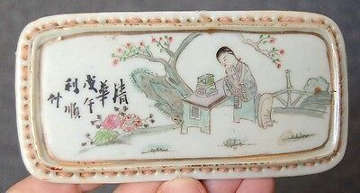 Antique Chinese Late Qing Dynasty Porcelain Ink Stick Rest #1