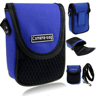 Blue Compact Digital Camera Case Universal Soft Bag Pouch + Strap