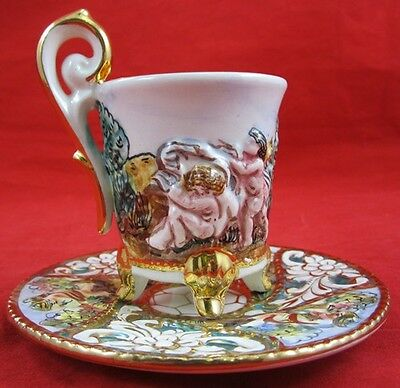 CAPODIMONTE DEMITASSE CUP SAUCER Italy Raised Relief Cherubs Putti Floral Gold