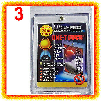 3 Ultra Pro ONE TOUCH MAGNETIC 75pt UV Card Holder Display Case Two Piece 81910