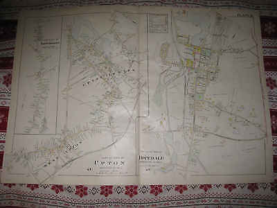 LRG ANTIQUE 1898 UPTON NORTH MILFORD HOPEDALE WORCESTER COUNTY MASSACHUSETTS MAP