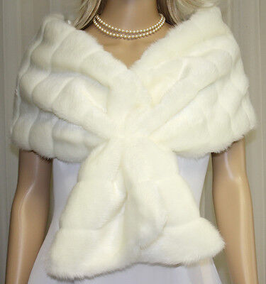 Ivory Set Of Four Faux Fur Wrap Stole Shawl Bolero Scarf  Bridal Wedding  Nwt