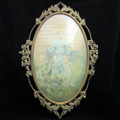 Antique/Vintage Brass Oval Frame with Domed Glass Floral & Vine Border Accents