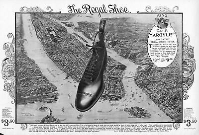 Regal Shoe King Calf Argyle New York Bay Brooklyn Bridge Statue Of Liberty