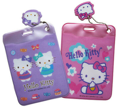 New Sanrio HELLO KITTY  ID Credit CARD Ticket HOLDER , Name Tag X 2