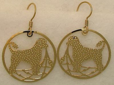 Portuguese Water Dog  Retriever Clip Gold Dangle Earrings