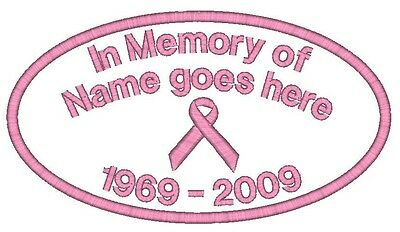 6 Breast Cancer Embroidered Iron on Name Patches Ribbon MEMORY Memorial Badges