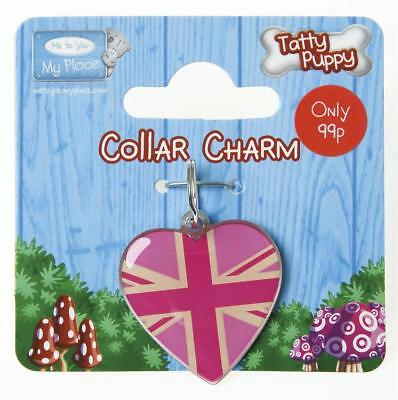 Me To You Tatty Puppy Pink Union Jack Heart Collar Charm Accessory New Gift