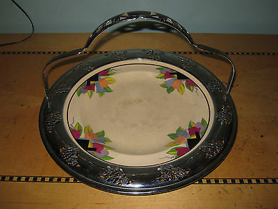 Vintage Art Deco 40's Umbertone Leight Potters plate in silver handled tray