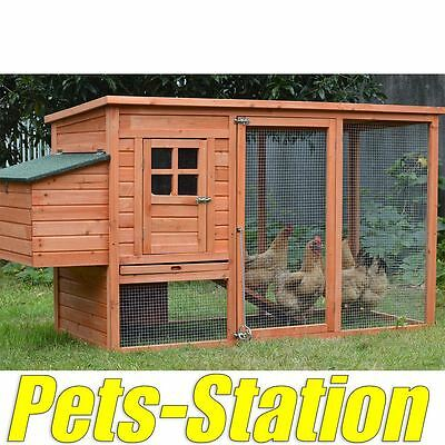 LARGE Chicken Coop Rabbit Hutch Ferret Cage Hen Chook House 9 Guinea Pig Run
