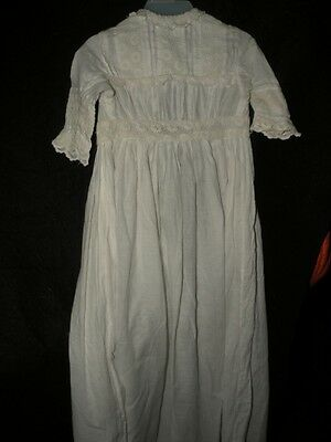 Antique Victorian Christening Gown Embroidery & Lace Bodice & Hem Baby Or Doll