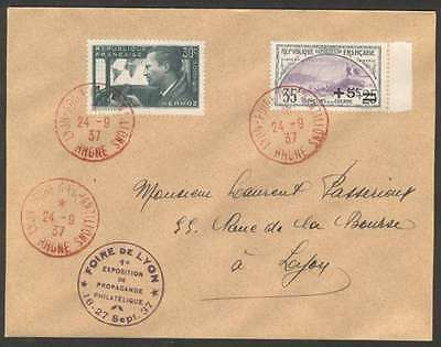 France Internal Cover 1937 2 Colours Stamps First Expo L@@K
