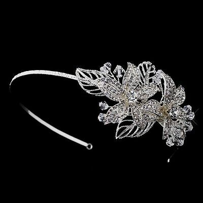 Silver Plated Crystal Bead and Rhinestone Side Accented Flower Bridal Headband