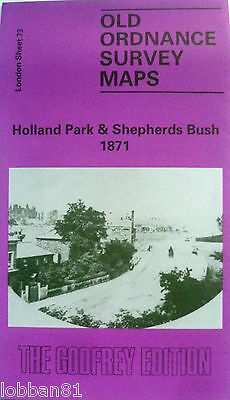 Old Ordnance Survey Maps Holland Park & Shepherds Bush  1871 Godfrey Edition New