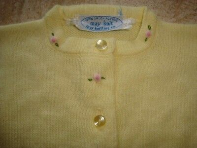 Vintage Girl's Yellow 1950's Sweater MAY KNIT Delicate Pink Embroidered Flowers