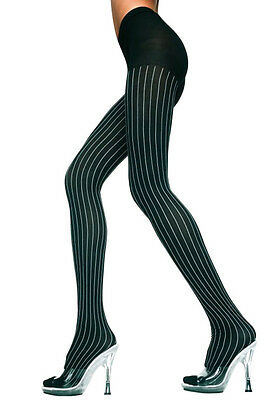 NEW BLACK WITH WHITE RIBBED DESIGN TIGHTS