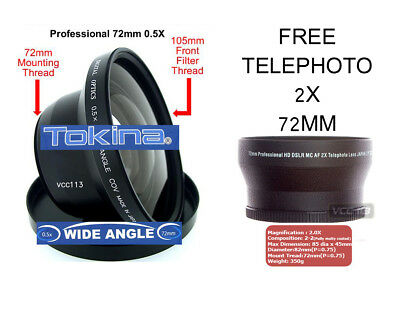 TOKINA 72MM 0.5X WIDE ANGLE LENS + TELE FOR SONY HDR-FX1000 FX1 HVR ...