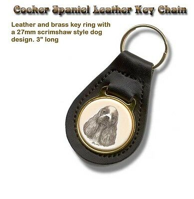 COCKER SPANIEL Brass and Leather Dog KEY RING