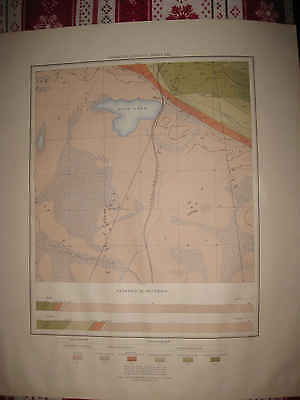 Antique Upper Peninsula Northern Michigan Geological Map Railroad Fish Lake Nr
