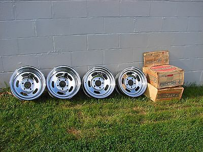 VINTAGE NOS FENTON CHROME SLOT WHEELS 14X6 14x7 REVERSE  4.5 4.75 BOLT CIRCLE
