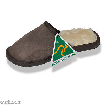 Slippers Scuffs Mens Australian Hand Crafted Merino Water resistant Sheepskin