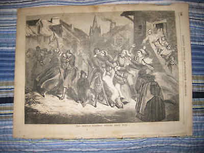 Superb Antique 1856 French Soldier Return From Crimean War Military Print Dog Nr