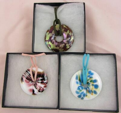 OKRA GLASS Sebella Round Pendant Necklace Iridescent BOXED