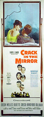 CRACK IN THE MIRROR 1960 Orson Welles, Juliette Gréco US 14x36 POSTER